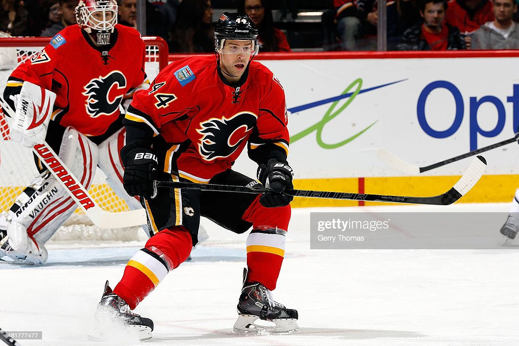 Chris Butler #44 of the Calgary Flames skates against the Buffalo Sabres at Scotiabank Saddledome on March 18, 2014 in Calgary, Alberta, Canada. The Flames won 3-1.