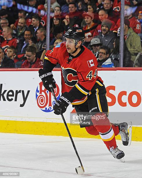 Chris Butler of the Calgary Flames skates against the Columbus Blue Jackets during an NHL game at Scotiabank Saddledome on November 20 2013 in...
