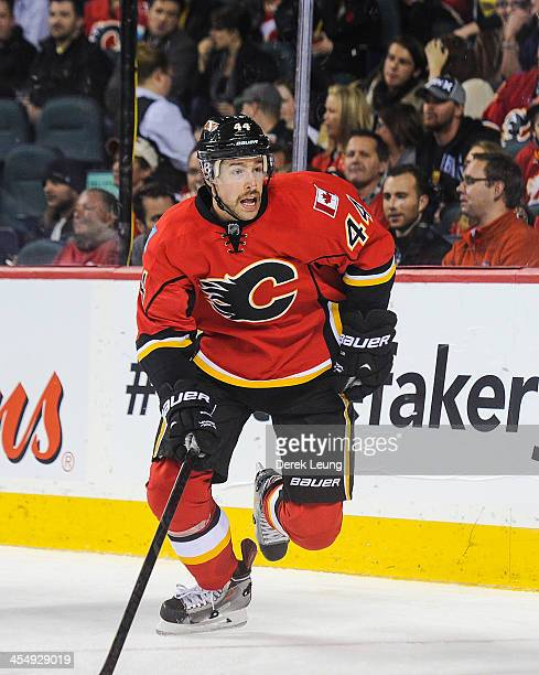 Chris Butler of the Calgary Flames skates against the Florida Panthers during an NHL game at Scotiabank Saddledome on November 22 2013 in Calgary...