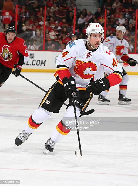 Chris Butler of the Calgary Flames skates against the Ottawa Senators at Canadian Tire Centre on March 30 2014 in Ottawa Ontario Canada