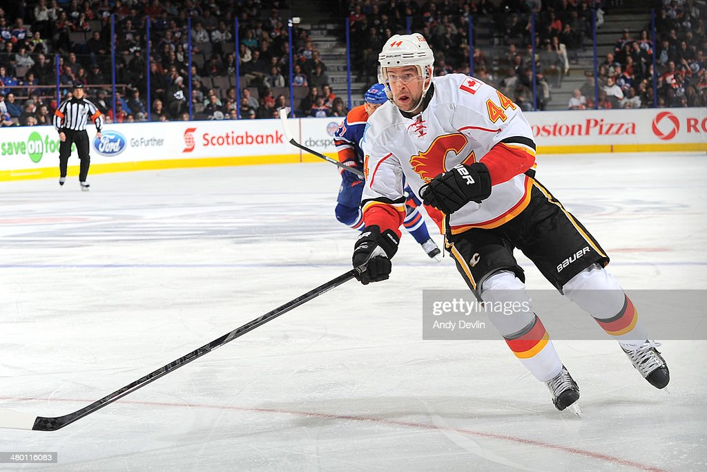 Chris Butler #44 of the Calgary Flames skates on the ice in a game against the Edmonton Oilers on March 22, 2014 at Rexall Place in Edmonton, Alberta, Canada.