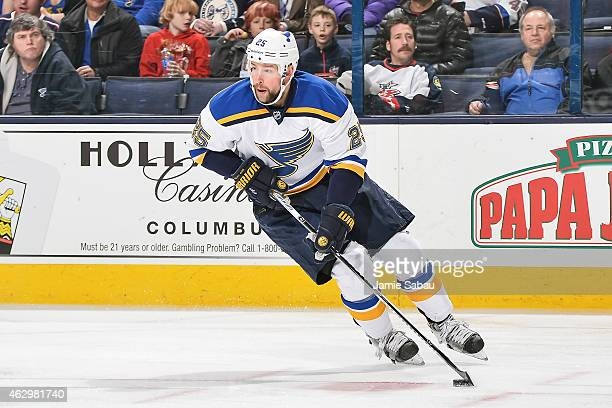 Chris Butler of the St Louis Blues skates against the Columbus Blue Jackets on February 6 2015 at Nationwide Arena in Columbus Ohio Columbus defeated...
