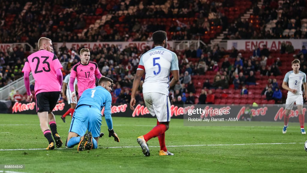 Chris Cadden of Scotland U21 scores a goal to make it 2-1 during the UEFA European Under 21 Championship Qualifiers fixture between England U21 and Scotland U21 at Riverside Stadium on October 6, 2017 in Middlesbrough, England.