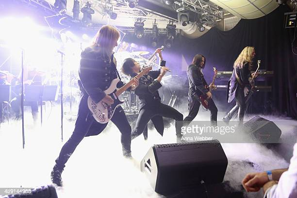 Chris Caffery Roddy Chong David Z and Joel Hoekstra of TransSiberian Orchestra perform onstage during an exclusive performance at The iHeartRadio...