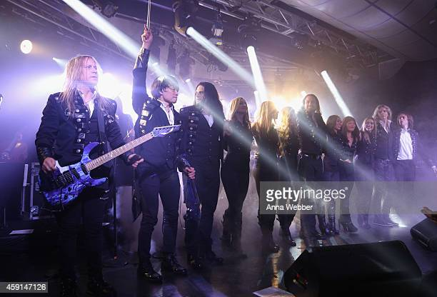 Chris Caffery Roddy Chong David Z Joel Hoekstra and members of TransSiberian Orchestra perform onstage during an exclusive performance at The...