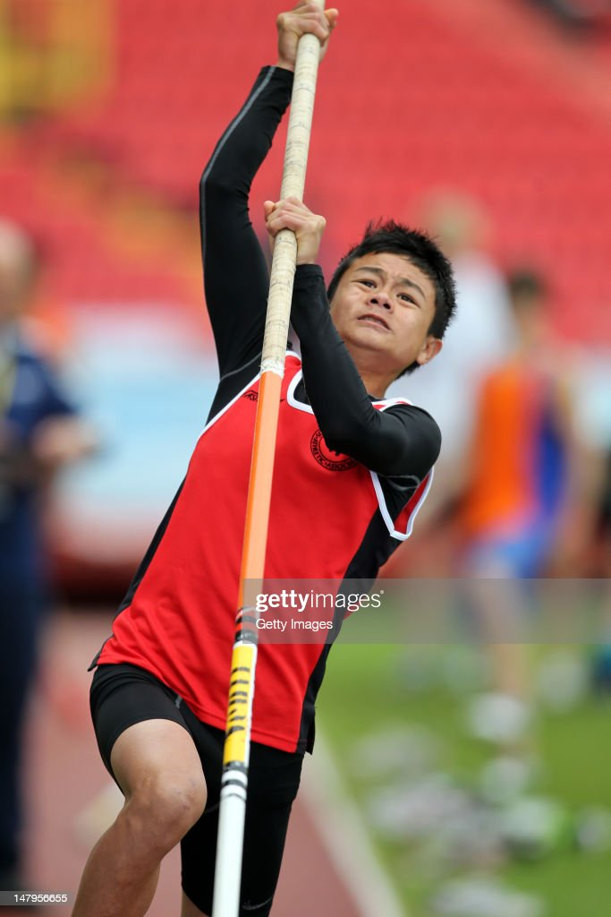 Chris Caines of Somerset competes in the Junior Boys Pole Vault during day one of the Aviva English Schools Track and Field Championships at the Gateshead International Stadium on July 6, 2012 in Gateshead, England. Search Aviva Athletics on Facebook to Back The Team.