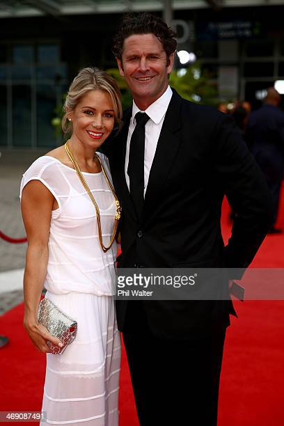 Chris Cairns and his wife Mel pose on the red carpet ahead of the Westpac Halberg Awards at Vector Arena on February 13 2014 in Auckland New Zealand