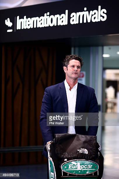 Chris Cairns arrives at Auckland Airport on May 30 2014 in Auckland New Zealand Cairns has returned to New Zealand following his interview in London...