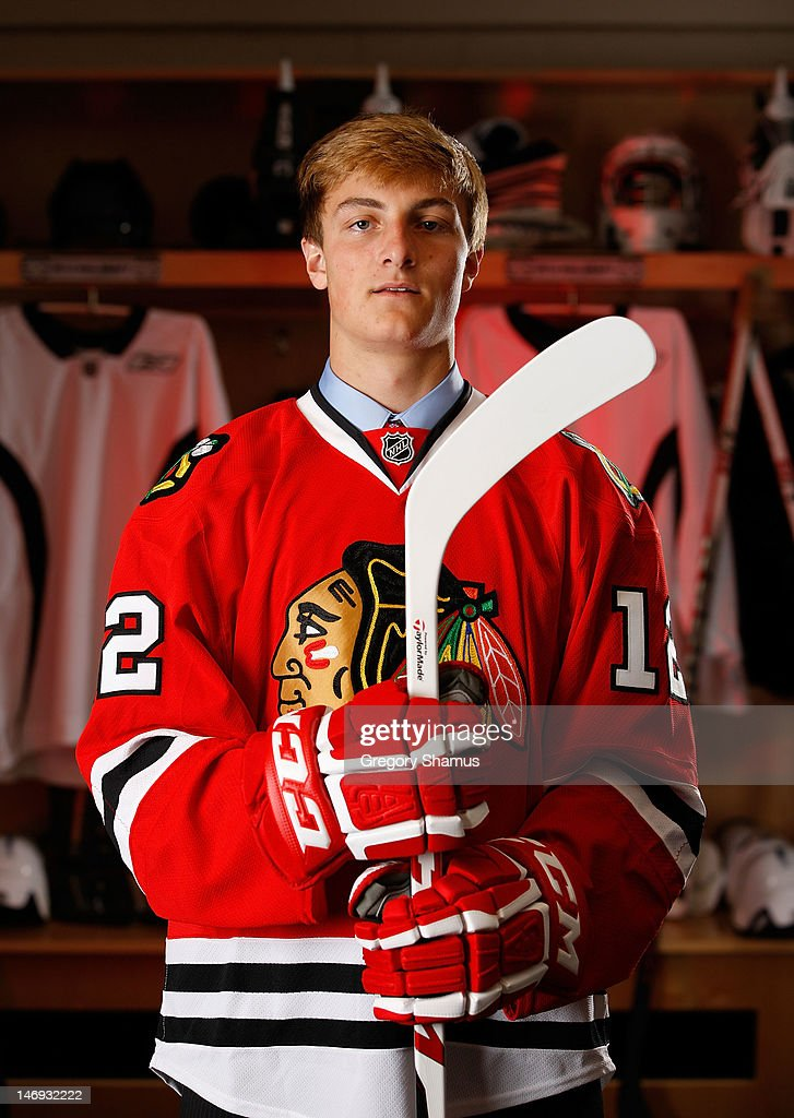 Chris Calnan, 79th overall pick by the Chicago Blackhawks, poses for a portrait during the 2012 NHL Entry Draft at Consol Energy Center on June 23, 2012 in Pittsburgh, Pennsylvania.