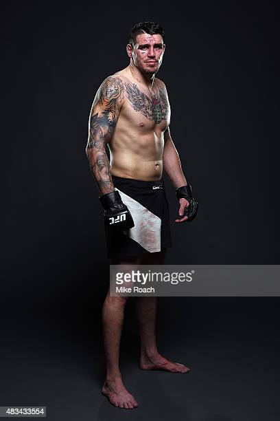 Chris Camozzi poses for a postfight portrait backstage during the UFC Fight Night event at Bridgestone Arena on August 8 2015 in Nashville Tennessee