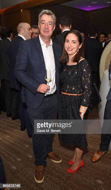 Chris Campbell and Elena Arzak attend 10th anniversary of Alain Ducasse at The Dorchester on October 23 2017 in London England