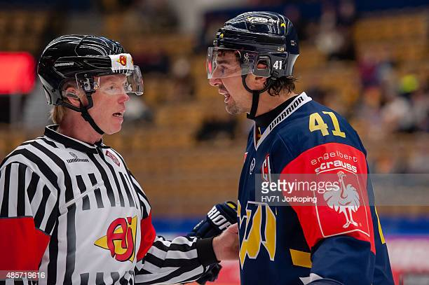 Chris Campoli of HV71 talks to the referee during the Champions Hockey League group stage game between HV71 Jonkoping and SonderjyskE Vojens on...