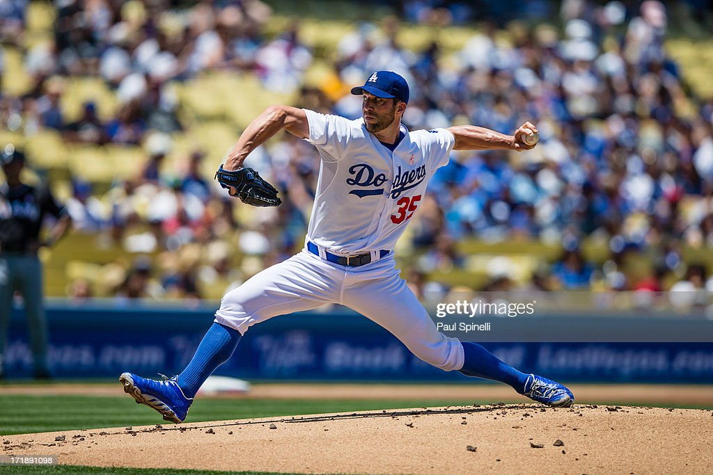<a gi-track='captionPersonalityLinkClicked' href=/galleries/search?phrase=Chris+Capuano&family=editorial&specificpeople=228059 ng-click='$event.stopPropagation()'>Chris Capuano</a> #35 of the Los Angeles Dodgers pitches during the game against the Miami Marlins on Sunday, May 12, 2013 at Dodger Stadium in Los Angeles, California. The Dodgers won the game 5-3.