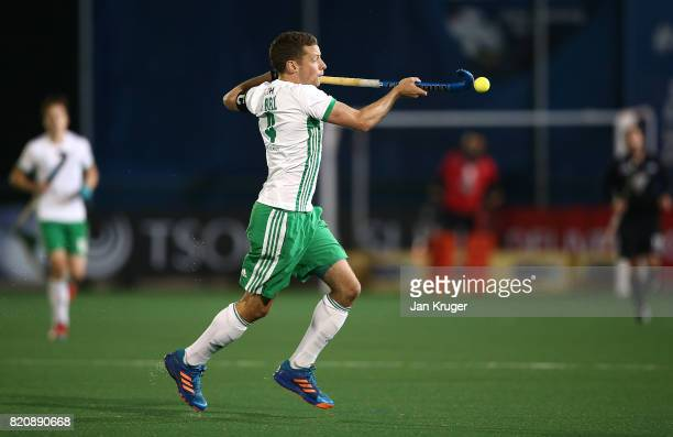 Chris Cargo of Ireland controls the ball during day 8 of the FIH Hockey World League Men's Semi Finals 5th/ 6th place match between New Zealand and...