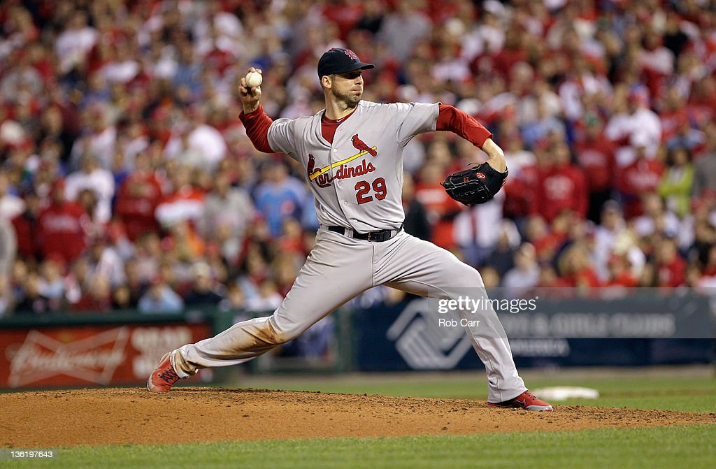 <a gi-track='captionPersonalityLinkClicked' href=/galleries/search?phrase=Chris+Carpenter+-+Baseball+Player&family=editorial&specificpeople=208139 ng-click='$event.stopPropagation()'>Chris Carpenter</a> #29 of the St. Louis Cardinals throws a pitch against the Philadelphia Phillies during Game Five of the National League Divisional Series at Citizens Bank Park on October 7, 2011 in Philadelphia, Pennsylvania.