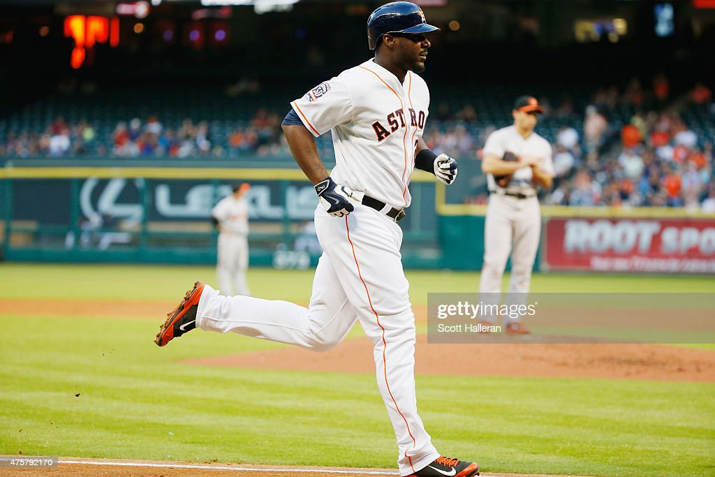 Chris Carter #23 of the Houston Astros head home after hitting a solo home run off Miguel Gonzalez #50 of the Baltimore Orioles in the second inning during their game at Minute Maid Park on June 3, 2015 in Houston, Texas.