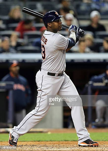 Chris Carter of the Houston Astros hits a two run homer in the eighth inning against the New York Yankees on April 30 2013 at Yankee Stadium in the...