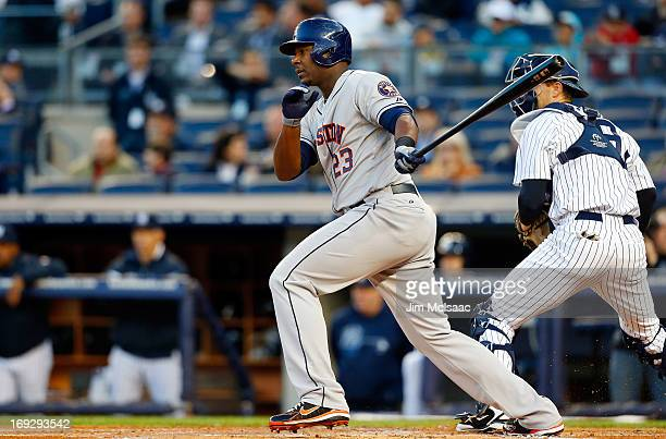Chris Carter of the Houston Astros in action against the New York Yankees at Yankee Stadium on April 30 2013 in the Bronx borough of New York City...