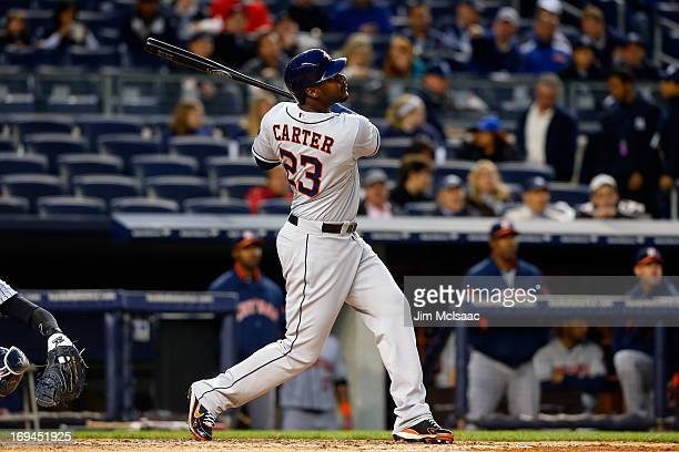 Chris Carter of the Houston Astros in action against the New York Yankees at Yankee Stadium on April 29 2013 in the Bronx borough of New York City...