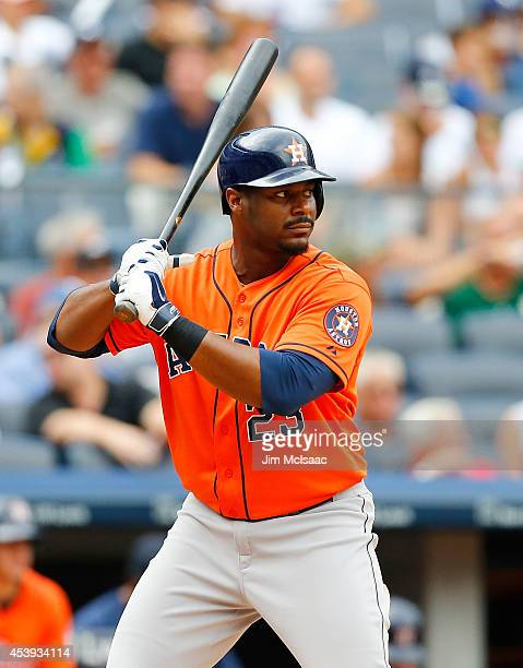 Chris Carter of the Houston Astros in action against the New York Yankees at Yankee Stadium on August 21 2014 in the Bronx borough of New York City...