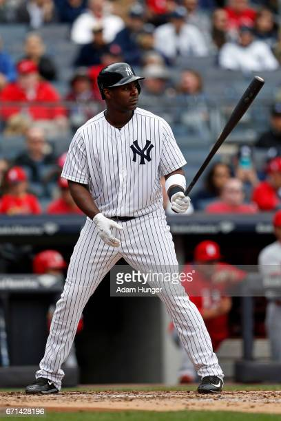 Chris Carter of the New York Yankees at bat against the St Louis Cardinals at Yankee Stadium on April 15 2017 in the Bronx borough of New York City...