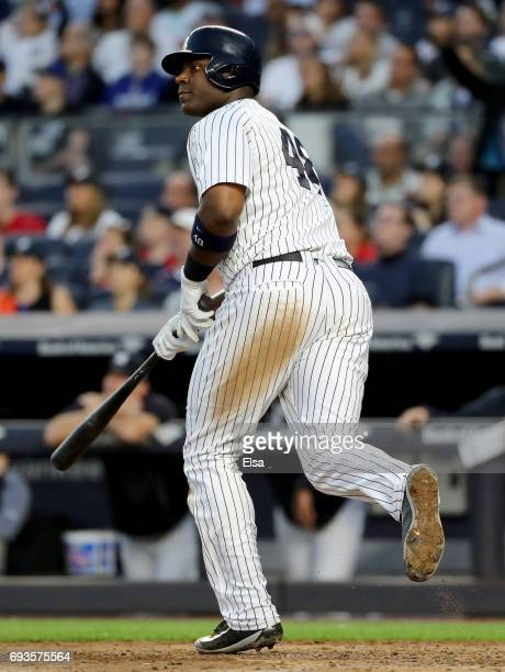 Chris Carter of the New York Yankees watches his three run home run in the fourth inning against the Boston Red Sox on June 7 2017 at Yankee Stadium...