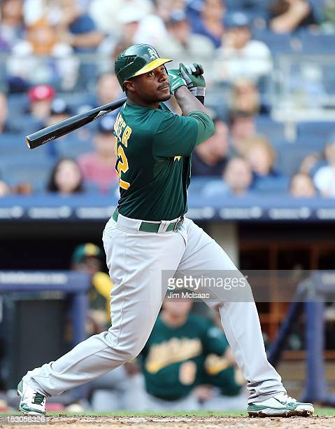 Chris Carter of the Oakland Athletics in action against the New York Yankees at Yankee Stadium on September 22 2012 in the Bronx borough of New York...