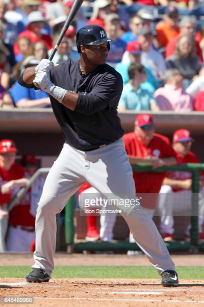 Chris Carter of the Yankees at bat during the spring training game between the New York Yankees and the Philadelphia Phillies on February 25 2017 at...