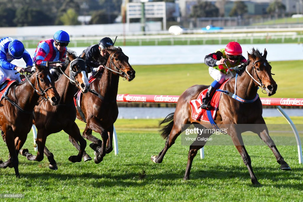 Chris Caserta riding Princess of Queens wins race 8 during Melbourne Racing at Sandown Lakeside on August 16, 2017 in Melbourne, Australia.