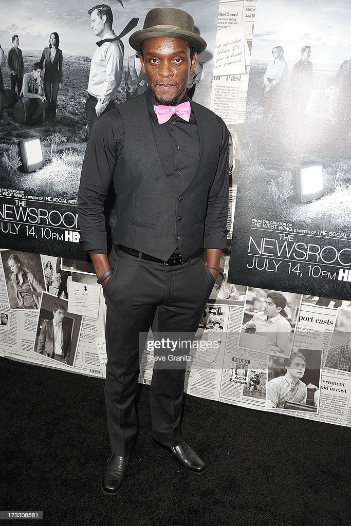 Chris Chalk arrives at the Los Angeles Season 2 Premiere Of HBO's Series 'The Newsroom' at Paramount Studios on July 10, 2013 in Hollywood, California.