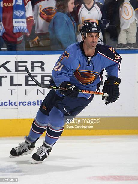 Chris Chelios of the Atlanta Thrashers warms up before the game against the New York Rangers at Philips Arena on March 12 2010 in Atlanta Georgia