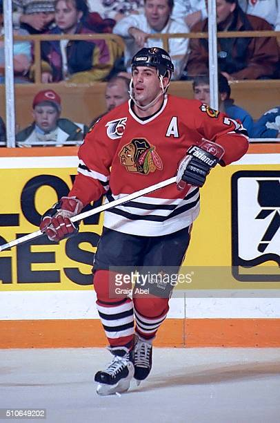 Chris Chelios of the Chicago Black Hawks skates up ice against the Toronto Maple Leafs against the Toronto Maple Leafs during game action on January...