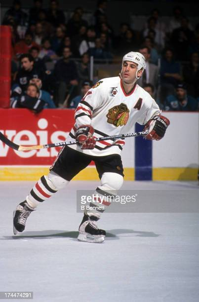 Chris Chelios of the Chicago Blackhawks skates on the ice during an NHL game against the San Jose Sharks on December 12 1993 at the Chicago Stadium...