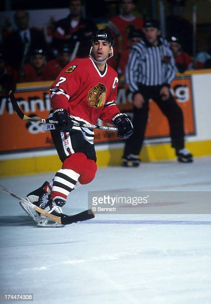 Chris Chelios of the Chicago Blackhawks skates on the ice during an NHL game against the Winnipeg Jets on November 14 1995 at the Winnipeg Arena in...