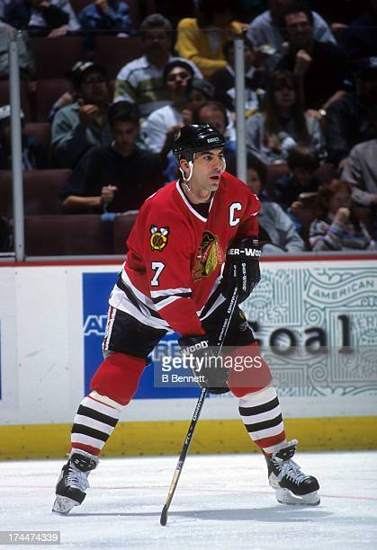Chris Chelios of the Chicago Blackhawks skates on the ice during an NHL game against the Mighty Ducks of Anaheim circa 1996 at the Arrowhead Pond of...