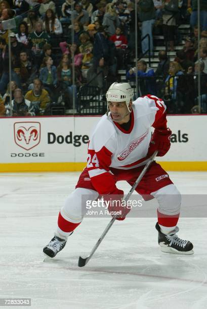 Chris Chelios of the Detroit Red Wings eyes the play against the Nashville Predators at Gaylord Entertainment Center on November 25 2006 in Nashville...