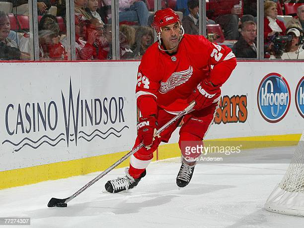Chris Chelios of the Detroit Red Wings gets set to head up ice with the puck in a game against the Calgary Flames on October 10 2007 at the Joe Louis...