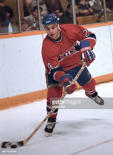 Chris Chelios of the Montreal Canadiens controls the puck against the Toronto Maple Leafs during NHL game action on February 10 1985 at Maple Leaf...