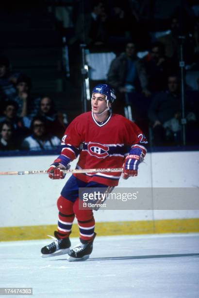 Chris Chelios of the Montreal Canadiens skates on the ice during an NHL game against the New York Islanders circa 1985 at the Nassau Coliseum in...