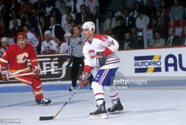 Chris Chelios of the Montreal Canadiens skates on the ice during Game 4 of the 1989 Stanley Cup Finals against the Calgary Flames on May 21 1989 at...