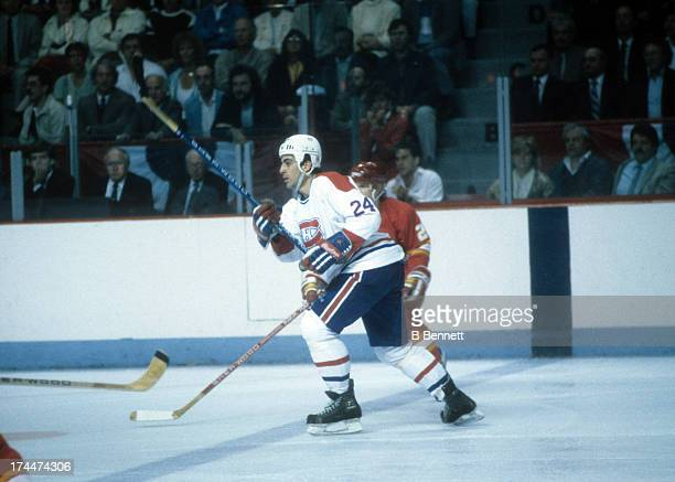 Chris Chelios of the Montreal Canadiens skates on the ice during the 1986 Stanley Cup Finals against the Calgary Flames in May 1986 at the Montreal...