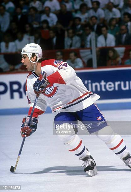 Chris Chelios of the Montreal Canadiens skates on the ice during the 1989 Stanley Cup Finals against the Calgary Flames in May 1989 at the Montreal...