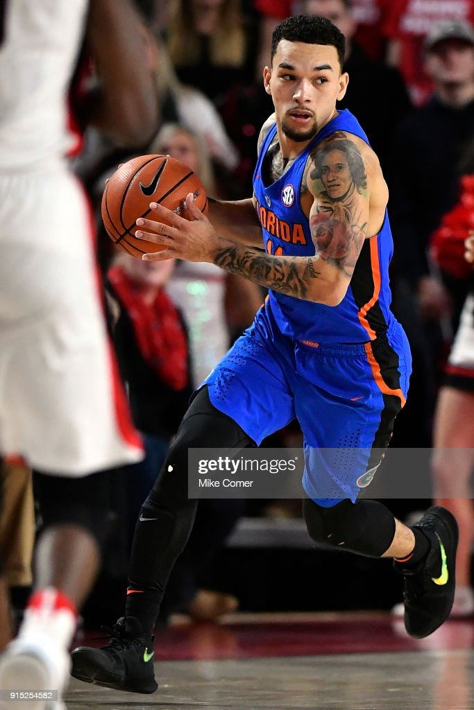 Chris Chiozza #11 of the Florida Gators works the ball into the front court against the Georgia Bulldogs during the basketball game at Stegeman Coliseum on January 30, 2018 in Athens, Georgia.