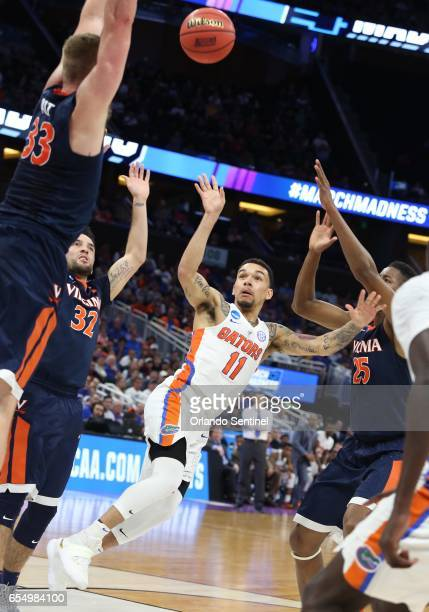 Chris Chiozza shoots against Virginia during the second round of the NCAA Tournament at the Amway Center in Orlando Fla on Saturday March 18 2017