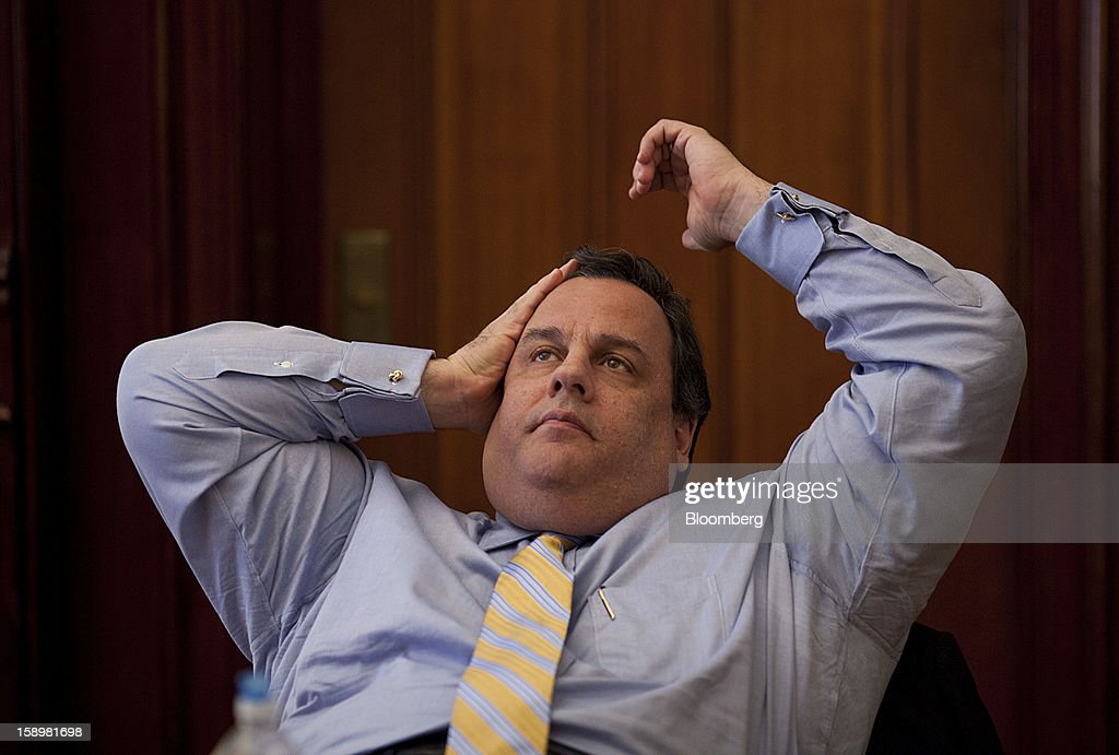 <a gi-track='captionPersonalityLinkClicked' href=/galleries/search?phrase=Chris+Christie&family=editorial&specificpeople=6480114 ng-click='$event.stopPropagation()'>Chris Christie</a>, governor of New Jersey, pauses while speaking to reporters at the Statehouse in Trenton, New Jersey, U.S., on Friday, Jan. 4, 2013. The U.S. Congress cleared the first installment of disaster aid for victims of Hurricane Sandy after harsh criticism of House leaders by fellow Republicans including Christie for canceling an earlier vote. Photographer: Emile Wamsteker/Bloomberg via Getty Images