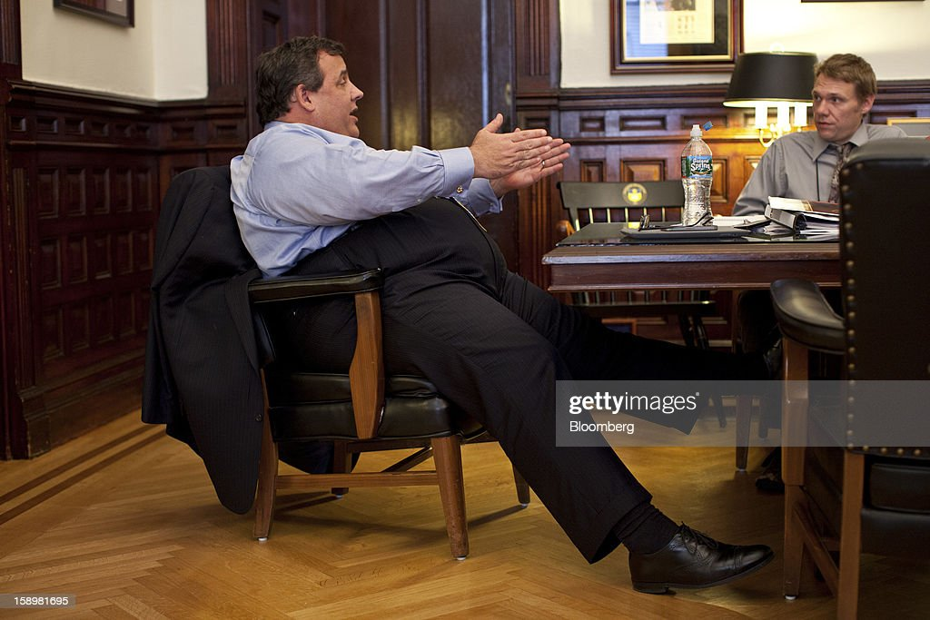 <a gi-track='captionPersonalityLinkClicked' href=/galleries/search?phrase=Chris+Christie&family=editorial&specificpeople=6480114 ng-click='$event.stopPropagation()'>Chris Christie</a>, governor of New Jersey, speaks to reporters at the Statehouse in Trenton, New Jersey, U.S., on Friday, Jan. 4, 2013. The U.S. Congress cleared the first installment of disaster aid for victims of Hurricane Sandy after harsh criticism of House leaders by fellow Republicans including Christie for canceling an earlier vote. Photographer: Emile Wamsteker/Bloomberg via Getty Images