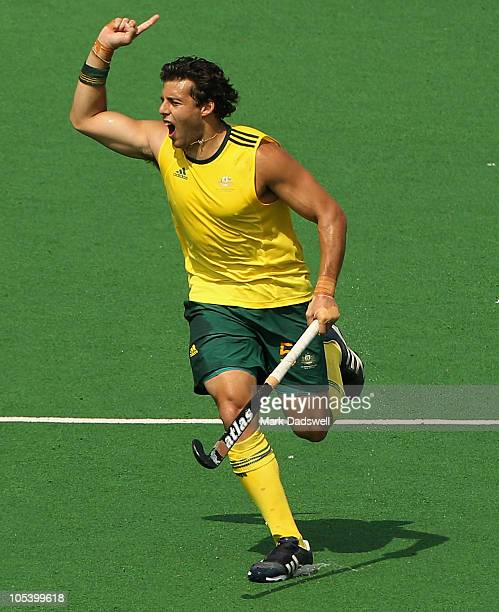 Chris Ciriello of Australia celebrates a goal during the Men's Gold medal match between Australia and India at the Major Dhyan Chand National Stadium...