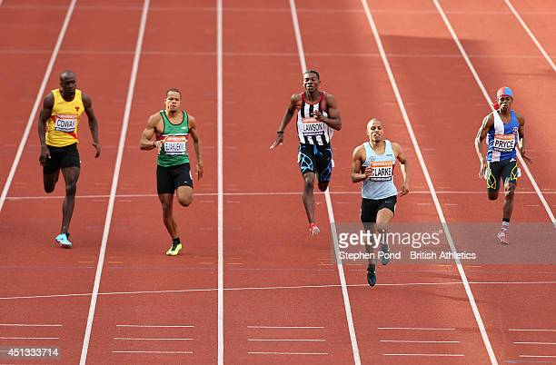 Chris Clarke in action in the heats of the Men's 200m event during the Sainsbury's British Athletics Championships at Birmingham Alexander Stadium on...