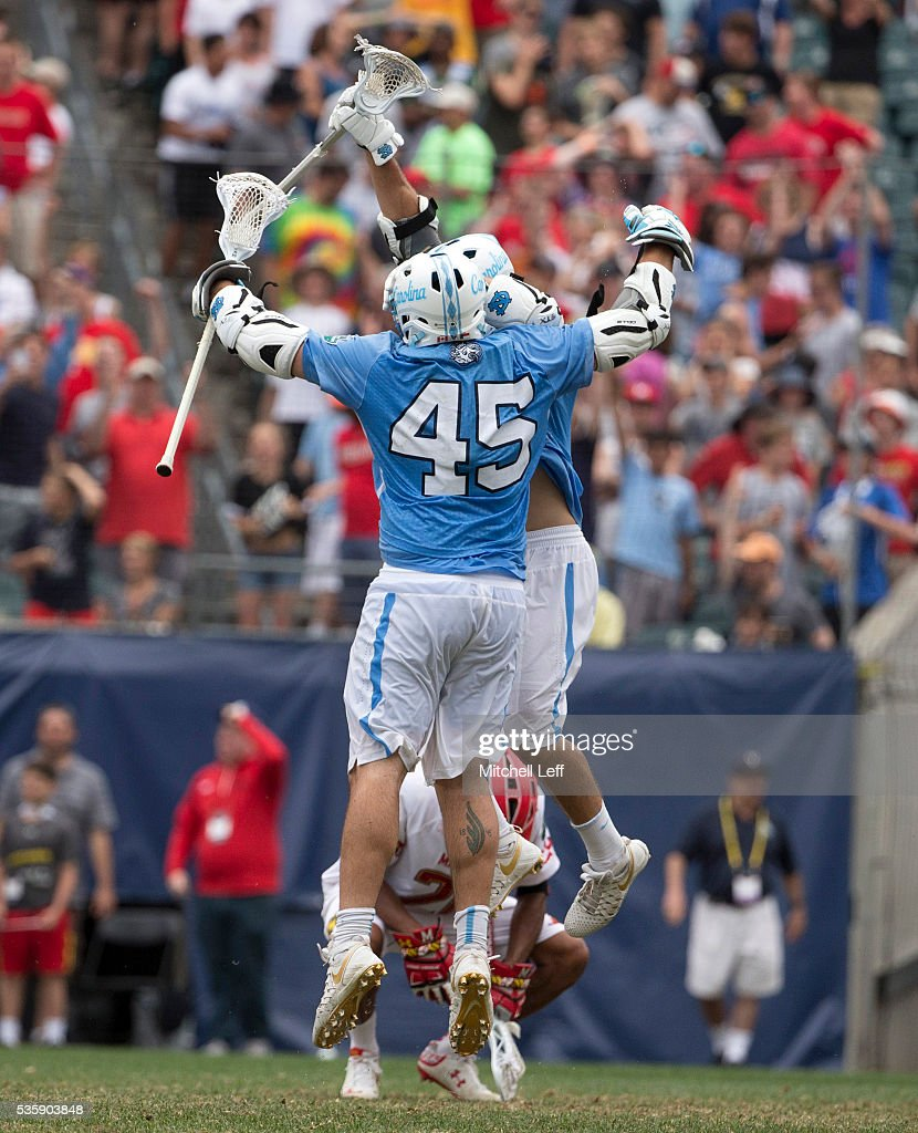 Chris Cloutier #45 of the North Carolina Tar Heels celebrates after scoring the game winning goal in overtime against the Maryland Terrapinsin the NCAA Division I Men's Lacrosse Championship at Lincoln Financial Field on May 30, 2016 in Philadelphia, Pennsylvania. The Tar Heels defeated the Terrapins 14-13.
