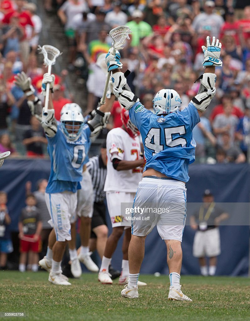 Chris Cloutier #45 of the North Carolina Tar Heels reacts after scoring the game winning goal in overtime against the Maryland Terrapins in the NCAA Division I Men's Lacrosse Championship at Lincoln Financial Field on May 30, 2016 in Philadelphia, Pennsylvania. The Tar Heels defeated the Terrapins 14-13.